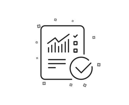 Checklist document line icon. Analysis Chart or Sales growth report sign. Statistics data symbol. Geometric shapes. Random cross elements. Linear Checked calculation icon design. Vector