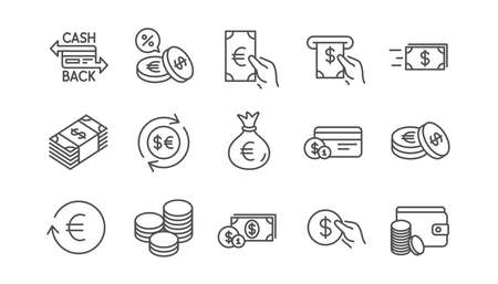 Money and payment line icons. Cash, Wallet and Coins. Account cashback linear icon set.  Vector