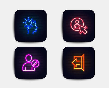 Neon glow lights. Set of Idea, User and Edit user icons. Sign out sign. Professional job, Project manager, Profile data. Logout.  Neon icons. Glowing light banners. Vector Illustration