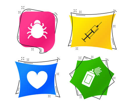 Bug and vaccine syringe injection icons. Heart and spray can sign symbols. Geometric colorful tags. Banners with flat icons. Trendy design. Vector