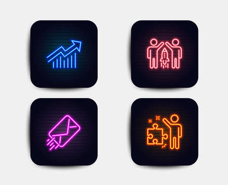 Neon glow lights. Set of E-mail, Demand curve and Partnership icons. Strategy sign. Mail delivery, Statistical report, Business startup. Business plan.  Neon icons. Glowing light banners. Vector