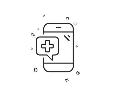 Medicine phone line icon. Mobile medical help sign. Geometric shapes. Random cross elements. Linear Medical phone icon design. Vector Banque d'images - 124723132