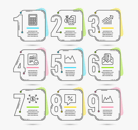 Infographic template with numbers 9 options. Set of Discount message, Accounting wealth and Demand curve icons. Calculator, Credit card and Line chart signs. Vector Illustration