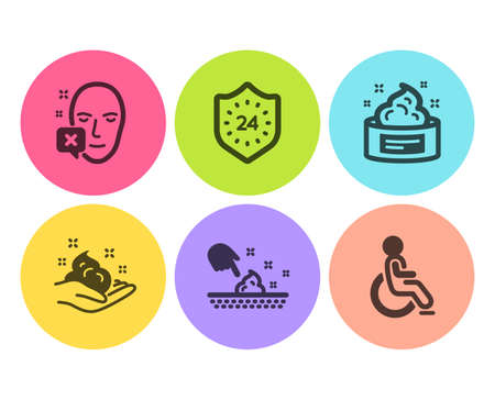 24 hours, Face declined and Skin cream icons simple set. Skin care, Disabled signs. Protection, Identification error. Medical set. Flat 24 hours icon. Circle button. Vector Illustration