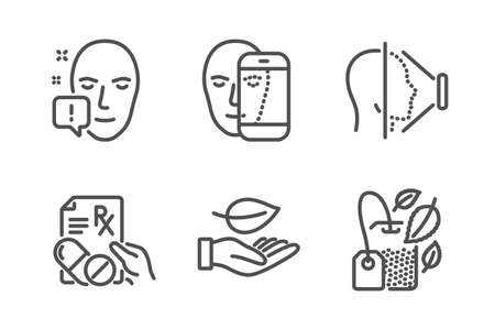 Face Id, Leaf And Face Attention Icons Simple Set  Prescription