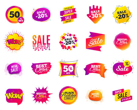Sale banner. Special offer template tags. Cyber monday sale discount. Black friday shopping icons. Best ultimate offer badge. Super shopping discount icons. Mega banners set vector