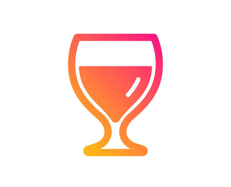 Wine glass icon. Alcohol drink sign. Beverage symbol. Classic flat style. Gradient wine glass icon. Vector