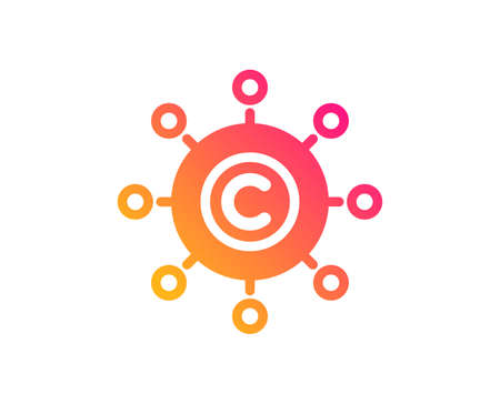 Copywriting network icon. Copyright sign. Content networking symbol. Classic flat style. Gradient copywriting network icon. Vector