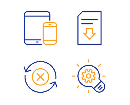 Mobile devices, Download file and Reject refresh icons simple set. Cogwheel sign. Smartphone with tablet, Load document, Update rejection. Idea bulb. Technology set. Linear mobile devices icon