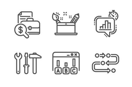 Creativity concept, Survey results and Spanner tool icons simple set. Statistics timer, Accounting report and Methodology signs. Graphic art, Best answer. Technology set. Line creativity concept icon