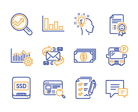 Operational excellence, Idea and Survey checklist icons simple set. Bus parking, Smile and Ssd signs. E-mail, Banking and Histogram symbols. Website search, Analytics and Comment. Vector Ilustração