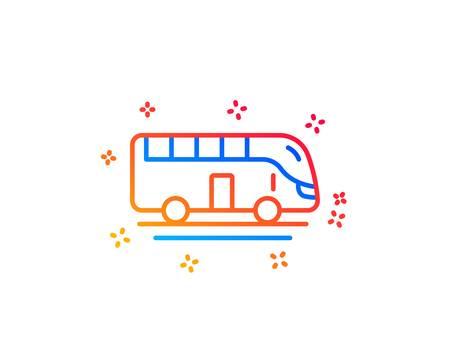 Bus tour transport line icon. Transportation sign. Tourism or public vehicle symbol. Gradient design elements. Linear bus tour icon. Random shapes. Vector