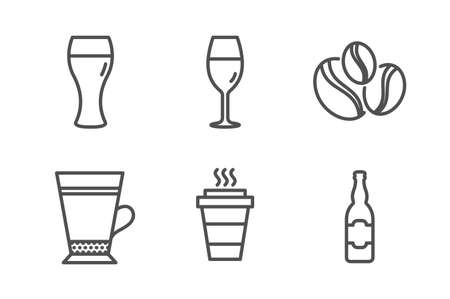 Beer glass, Latte and Takeaway icons simple set. Coffee-berry beans, Wineglass and Beer bottle signs. Brewery beverage, Coffee beverage. Food and drink set. Line beer glass icon. Editable stroke  イラスト・ベクター素材