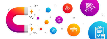 Magnet attracting. Payment exchange, Loan house and Target icons simple set. Shopping basket, Graph chart and Accounting checklist signs. Money transfer, Discount percent. Finance set. Vector