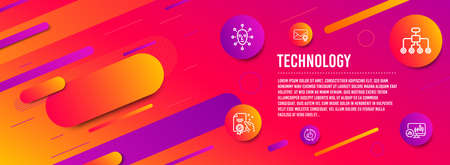 Header banner. Refresh like, Face biometrics and Restructuring icons simple set. Certificate, Verified mail and Candlestick chart signs. Thumbs up counter, Facial recognition. Technology set. Vector Banque d'images - 118659724