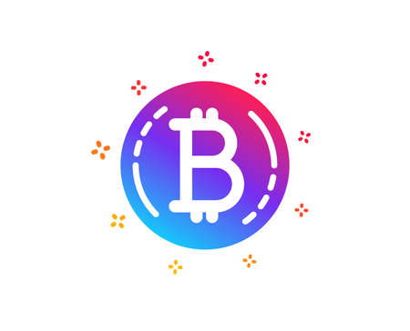 Bitcoin icon. Cryptocurrency coin sign. Crypto money symbol. Dynamic shapes. Gradient design bitcoin icon. Classic style. Vector