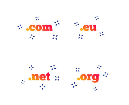 Top-level internet domain icons. Com, Eu, Net and Org symbols. Unique DNS names. Random dynamic shapes. Gradient domain icon. Vector  イラスト・ベクター素材