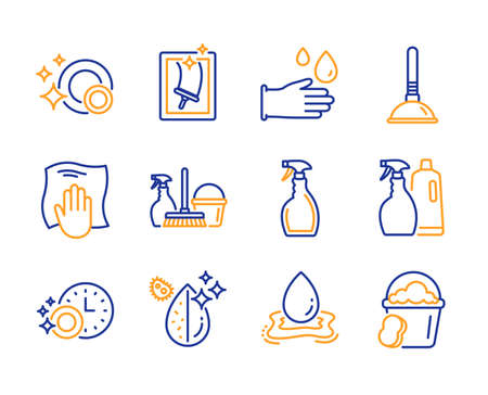 Plunger, Spray and Washing cloth icons simple set. Window cleaning, Rubber gloves and Dishwasher timer signs. Clean dishes, Dirty water and Water splash symbols. Line plunger icon. Colorful set