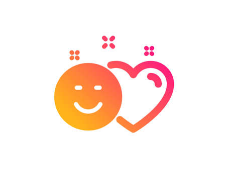 Social media like icon. Heart, smile sign. Positive feedback symbol. Classic flat style. Gradient smile icon. Vector Illustration