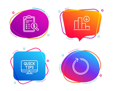 Web tutorials, Accounting report and Decreasing graph icons simple set. Loop sign. Quick tips, Check finance, Crisis chart. Refresh. Speech bubble web tutorials icon. Colorful banners design set