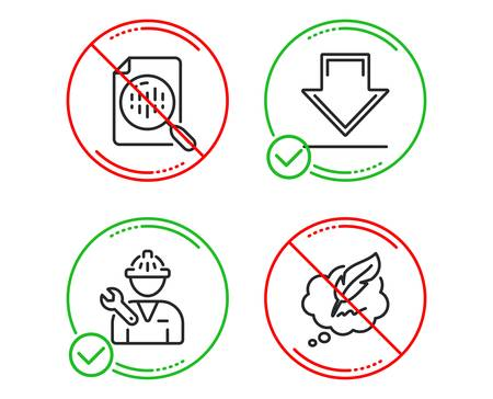 Do or Stop. Analytics chart, Downloading and Repairman icons simple set. Copyright chat sign. Report analysis, Load information, Repair service. Speech bubble. Technology set. Vector