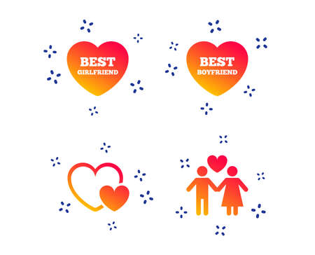 Valentine day love icons. Best girlfriend and boyfriend symbol. Couple lovers sign. Random dynamic shapes. Gradient love icon. Vector Illustration