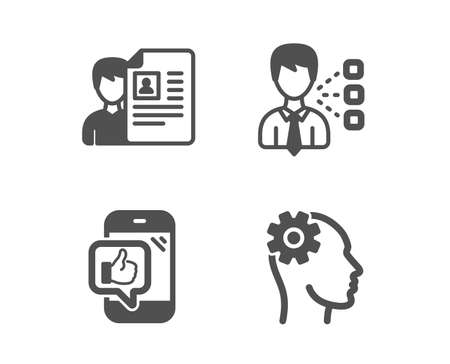 Set of Job interview, Mobile like and Third party icons. Engineering sign. Cv file, Phone thumbs up, Team leader. Cogwheel head.  Classic design job interview icon. Flat design. Vector