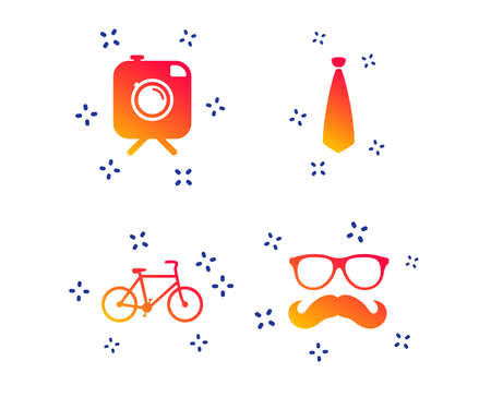 Hipster photo camera with mustache icon. Glasses and tie symbols. Bicycle family vehicle sign. Random dynamic shapes. Gradient hipster icon. Vector Illustration