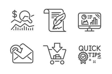 Check investment, Receive mail and Shopping icons simple set. Feather, Analytics graph and Quick tips signs. Business report, Incoming message. Line check investment icon. Editable stroke. Vector Illustration