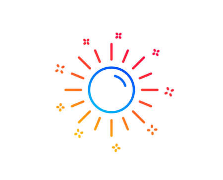 Sun line icon. Hot weather sign. Summer symbol. Gradient design elements. Linear sun icon. Random shapes. Vector