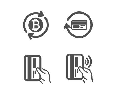 Set of Payment card, Refund commission and Refresh bitcoin icons. Contactless payment sign. Credit card, Update cryptocurrency, Bank money.  Classic design payment card icon. Flat design. Vector
