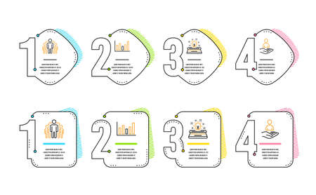 Column chart, Group and Typewriter icons simple set. Recruitment sign. Financial graph, Managers, Inspiration. Hr. Education set. Infographic timeline. Line column chart icon. 4 options or steps