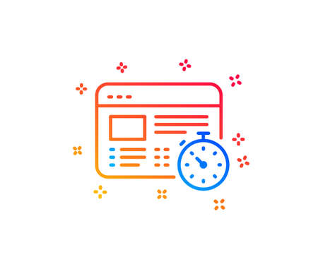 Web timer line icon. Online quiz test sign. Gradient design elements. Linear web timer icon. Random shapes. Vector Illustration