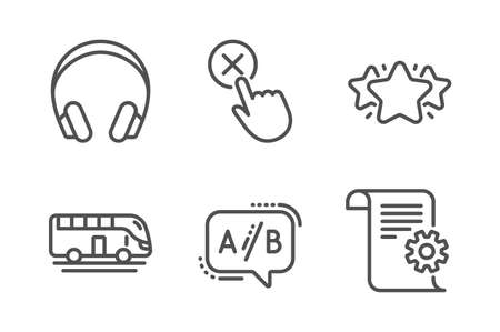 Headphones, Bus tour and Star icons simple set. Reject click, Ab testing and Technical documentation signs. Music listening device, Transport. Technology set. Line headphones icon. Editable stroke Ilustração