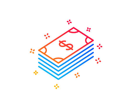 Cash money line icon. Banking currency sign. Dollar or USD symbol. Gradient design elements. Linear dollar icon. Random shapes. Vector Illustration