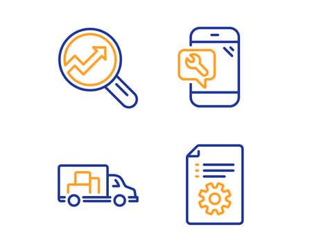 Trasporto camion, analisi e riparazione del telefono icone semplici set. Segno di documentazione tecnica. Consegna, analisi di audit, servizio di chiavi. Manuale. Insieme di tecnologia. Icona di trasporto camion lineare. Vettore