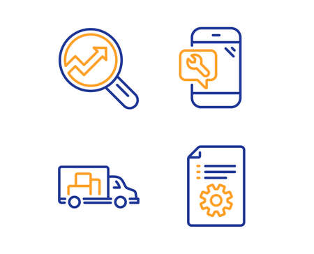 Truck transport, Analytics and Phone repair icons simple set. Technical documentation sign. Delivery, Audit analysis, Spanner service. Manual. Technology set. Linear truck transport icon. Vector