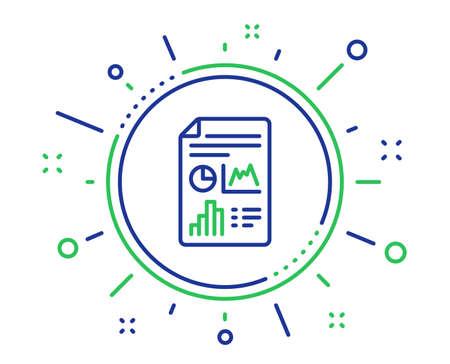 Report document line icon. Column graph sign. Growth diagram, pie chart symbol. Quality design elements. Technology report document button. Editable stroke. Vector