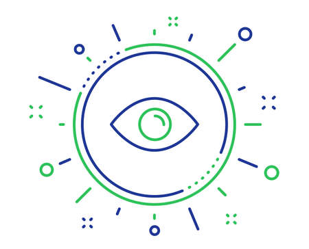 Eye line icon. Look or Optical Vision sign. View or Watch symbol. Quality design elements. Technology eye button. Editable stroke. Vector