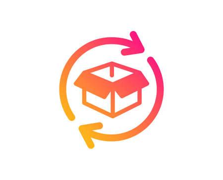 Symbol für den Warenaustausch. Paketschild zurücksenden. Paketverfolgungssymbol. Klassischer flacher Stil. Symbol für die Rücksendung von Paketen mit Farbverlauf. Vektor Vektorgrafik