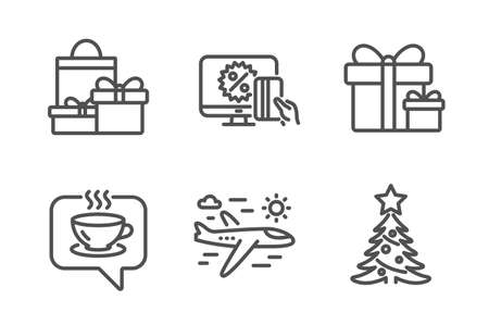 Online shopping, Surprise package and Shopping icons simple set. Coffee, Airplane travel and Christmas tree signs. Black friday, Present boxes. Holidays set. Line online shopping icon. Editable stroke Illustration