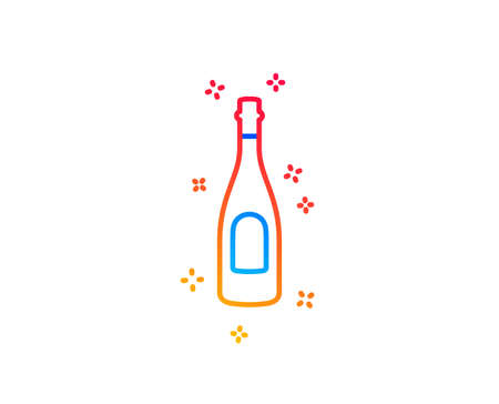 Champagne bottle line icon. Anniversary alcohol sign. Celebration event drink. Gradient design elements. Linear champagne icon. Random shapes. Vector