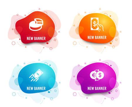 Liquid badges. Set of Pie chart, Fast payment and Receive money icons. Money exchange sign. 3d graph, Finance transfer, Cash payment. Eur to usd.  Gradient pie chart icon. Flyer fluid design. Vector