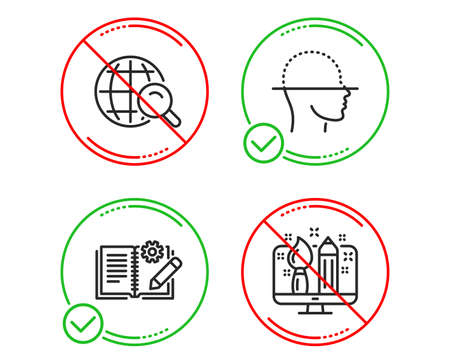 Do or Stop. Engineering documentation, Internet search and Face scanning icons simple set. Creative design sign. Manual, Web finder, Faces detection. Designer. Line engineering documentation do icon