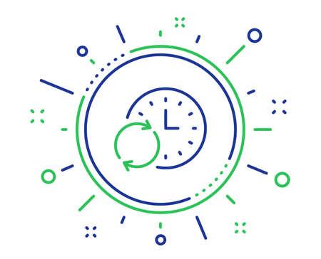 """Zeitliniensymbol. Aktualisieren Sie die Uhr oder das Fristsymbol. Zeitmanagement-Zeichen. Hochwertige Designelemente. Schaltfläche """"Zeit für Technologieaktualisierung"""". Bearbeitbarer Strich. Vektor"""
