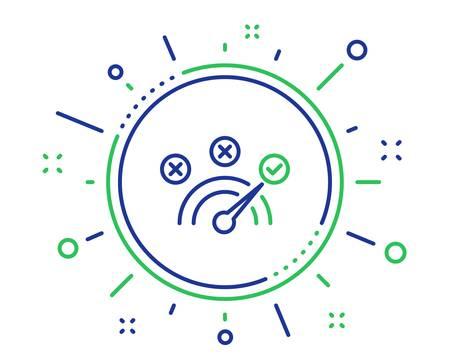 Symbol für die richtige Antwortzeile. Tachometer-Konzept-Zeichen. Überprüfen Sie das Symbol. Hochwertige Designelemente. Technologie-Schaltfläche für die richtige Antwort. Bearbeitbarer Strich. Vektor