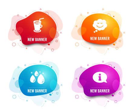 Liquid badges. Set of Speech bubble, Water drop and Cocktail icons. Information sign. Comic chat, Aqua, Fresh beverage. Info center.  Gradient speech bubble icon. Flyer fluid design. Abstract shapes Ilustração