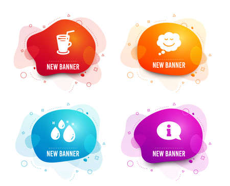 Liquid badges. Set of Speech bubble, Water drop and Cocktail icons. Information sign. Comic chat, Aqua, Fresh beverage. Info center.  Gradient speech bubble icon. Flyer fluid design. Abstract shapes Illustration
