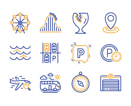 Bus travel, Parking place and Ferris wheel icons simple set. Roller coaster, Location and Search flight signs. Parking, Travel compass and Fragile package symbols. Waves. Line bus travel icon. Vector