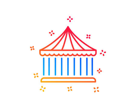 Carousels line icon. Amusement park sign. Gradient design elements. Linear carousels icon. Random shapes. Vector